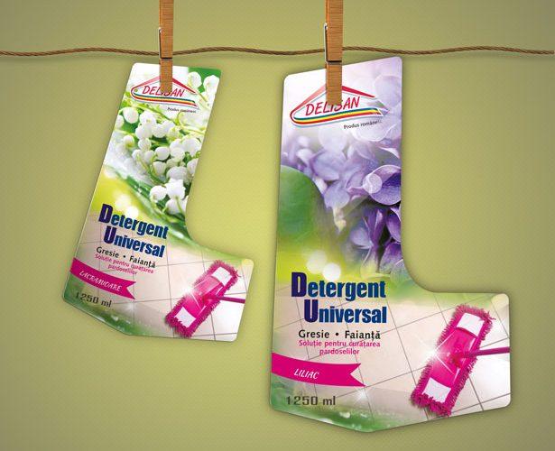 Etichete detergent pe forma ambalajului